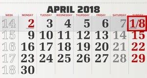 Διανυσματικό ημερολόγιο του Απριλίου του 2018 Στοκ εικόνα με δικαίωμα ελεύθερης χρήσης