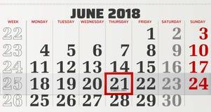 Διανυσματικό ημερολόγιο του Ιουνίου του 2018 Στοκ φωτογραφία με δικαίωμα ελεύθερης χρήσης