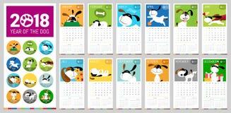 Διανυσματικό ημερολόγιο του 2018 διανυσματική απεικόνιση