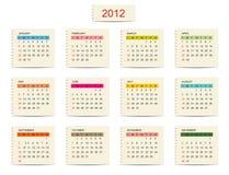 Διανυσματικό ημερολόγιο 2012 για το σχέδιό σας Στοκ φωτογραφία με δικαίωμα ελεύθερης χρήσης