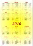 Διανυσματικό ημερολογιακό πρότυπο - 2016 στο κίτρινο υπόβαθρο Στοκ φωτογραφίες με δικαίωμα ελεύθερης χρήσης