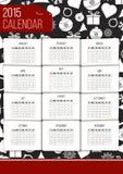 Διανυσματικό ημερολόγιο του 2015 Στοκ φωτογραφία με δικαίωμα ελεύθερης χρήσης