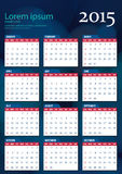 Διανυσματικό ημερολόγιο 2015 Στοκ εικόνα με δικαίωμα ελεύθερης χρήσης