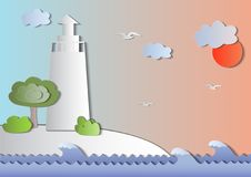 Διανυσματικό θαλάσσιο θέμα ύφους εγγράφου διανυσματική απεικόνιση