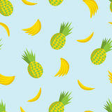 Διανυσματικό θερινό άνευ ραφής σχέδιο με τους ανανάδες και τις μπανάνες στο θόριο Στοκ Φωτογραφία