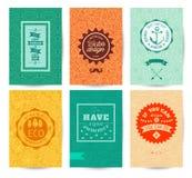 Διανυσματικό διακοσμητικό σχέδιο ευχετήριων καρτών ή πρόσκλησης πρότυπα που τίθενται Στοκ Εικόνες