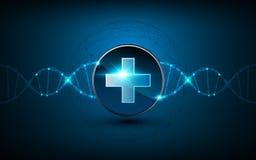 Διανυσματικό ιατρικό sci τεχνολογίας έννοιας λογότυπων υγειονομικής περίθαλψης υπόβαθρο σχεδίου ελίκων DNA FI απεικόνιση αποθεμάτων