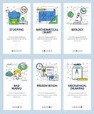 Διανυσματικό ιστοχώρου γραμμικό πρότυπο οθονών τέχνης onboarding Σχολική εκπαίδευση, παρουσίαση, math διάγραμμα, σχολική τσάντα,  απεικόνιση αποθεμάτων