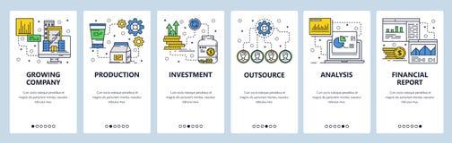 Διανυσματικό ιστοχώρου γραμμικό πρότυπο οθονών τέχνης onboarding Επιχείρηση και επένδυση χρημάτων  menu απεικόνιση αποθεμάτων