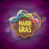 Διανυσματικό διανυσματικό ιώδες υπόβαθρο gras mardi της Νέας Ορλεάνης με τα φω'τα θαμπάδων, τη μάσκα καρναβαλιού και το κείμενο δ Στοκ Φωτογραφίες