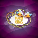 Διανυσματικό διανυσματικό ιώδες υπόβαθρο gras mardi της Νέας Ορλεάνης με τα φω'τα θαμπάδων, τη μάσκα καρναβαλιού και το κείμενο δ Στοκ Εικόνα