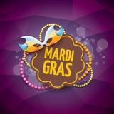 Διανυσματικό διανυσματικό ιώδες υπόβαθρο gras mardi της Νέας Ορλεάνης με τα φω'τα θαμπάδων, τη μάσκα καρναβαλιού και το κείμενο δ Στοκ Φωτογραφία