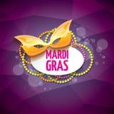 Διανυσματικό διανυσματικό ιώδες υπόβαθρο gras mardi της Νέας Ορλεάνης με τα φω'τα θαμπάδων, τη μάσκα καρναβαλιού και το κείμενο δ Στοκ εικόνα με δικαίωμα ελεύθερης χρήσης