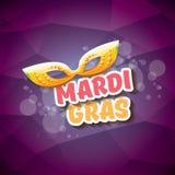 Διανυσματικό διανυσματικό ιώδες υπόβαθρο gras mardi της Νέας Ορλεάνης με τα φω'τα θαμπάδων, τη μάσκα καρναβαλιού και το κείμενο δ Στοκ Εικόνες