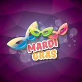 Διανυσματικό διανυσματικό ιώδες υπόβαθρο gras mardi της Νέας Ορλεάνης με τα φω'τα θαμπάδων, τη μάσκα καρναβαλιού και το κείμενο δ Στοκ εικόνες με δικαίωμα ελεύθερης χρήσης