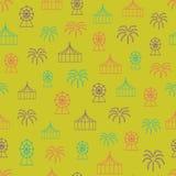 Διανυσματικό κίτρινο ευχάριστο υπόβαθρο σχεδίων καρναβαλιού άνευ ραφής διανυσματική απεικόνιση