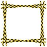 Διανυσματικό κίτρινο και μαύρο επικίνδυνο πλαίσιο κορδελλών που απομονώνεται στο άσπρο υπόβαθρο, ζωηρόχρωμα σύνορα απεικόνιση αποθεμάτων
