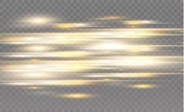 Διανυσματικό κίτρινο και μπλε ειδικό εφέ Φωτεινά λωρίδες σε ένα διαφανές υπόβαθρο Όμορφη πυράκτωση και σπινθήρας πυράκτωσης Στοκ Φωτογραφίες