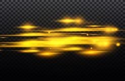 Διανυσματικό κίτρινο και μπλε ειδικό εφέ Φωτεινά λωρίδες σε ένα διαφανές υπόβαθρο Όμορφη πυράκτωση και σπινθήρας πυράκτωσης Στοκ Εικόνες