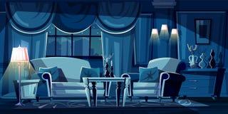 Διανυσματικό καθιστικό κινούμενων σχεδίων τη νύχτα, εσωτερικό ελεύθερη απεικόνιση δικαιώματος