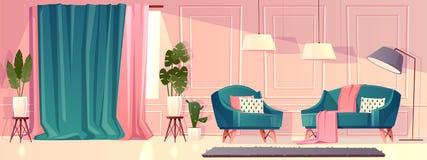 Διανυσματικό καθιστικό πολυτέλειας στο ρόδινο χρώμα απεικόνιση αποθεμάτων