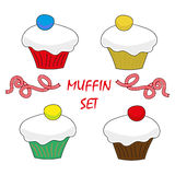 Διανυσματικό καθορισμένο γλυκό muffin στοιχείων τροφίμων σχεδίου Στοκ Εικόνα
