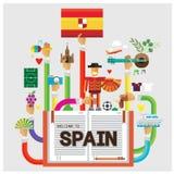 Διανυσματικό καθορισμένο επίπεδο illustrat ποδοσφαίρου βισώνων ταξιδιού της Βαρκελώνης χεριών της Ισπανίας Στοκ Εικόνες