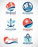Διανυσματικό καθορισμένο σχέδιο λογότυπων εστιατορίων και ψαριών θαλασσινών Στοκ Εικόνες