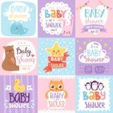 Διανυσματικό καθορισμένο σχέδιο τυπωμένων υλών καρτών πρόσκλησης ντους μωρών Στοκ Εικόνα
