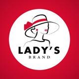 Διανυσματικό καλλιτεχνικό λογότυπο με συρμένη τη χέρι κυρία στο πορτρέτο καπέλων που απομονώνεται στο άσπρο υπόβαθρο διανυσματική απεικόνιση