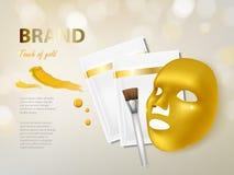 Διανυσματικό καλλυντικό έμβλημα με τη χρυσή του προσώπου μάσκα Στοκ Εικόνες