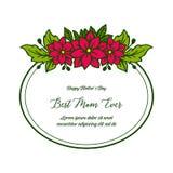Διανυσματικό καλύτερο mom γραψίματος απεικόνισης με τα φωτεινά κόκκινα πλαίσια λουλουδιών ελεύθερη απεικόνιση δικαιώματος