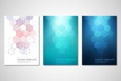 Διανυσματικό καλύψεις ή φυλλάδιο για την ιατρική, την επιστήμη και την ψηφιακή τεχνολογία Γεωμετρικό αφηρημένο υπόβαθρο με hexago ελεύθερη απεικόνιση δικαιώματος