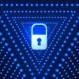 Διανυσματικό καμμένος υπόβαθρο με την κλειδαριά και τα μπλε τρίγωνα, φουτουριστικό σκηνικό τεχνολογίας, φωτεινό φως απεικόνιση αποθεμάτων
