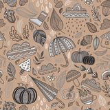 Διανυσματικό καφετί υπόβαθρο σχεδίων φθινοπώρου άνευ ραφής Στοκ Φωτογραφίες