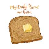 Διανυσματικό καφετί ψωμί με το βούτυρο Στοκ Εικόνες