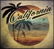 Διανυσματικό καλοκαίρι έννοιας λεσχών κυματωγών παραλιών Καλιφόρνιας που κάνει σερφ το αναδρομικό β διανυσματική απεικόνιση