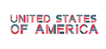 Διανυσματικό κείμενο Ηνωμένες Πολιτείες της Αμερικής ΑΜΕΡΙΚΑΝΙΚΟ έμβλημα στα χρώματα σημαιών με τα αστέρια και τα λωρίδες στοκ εικόνα με δικαίωμα ελεύθερης χρήσης
