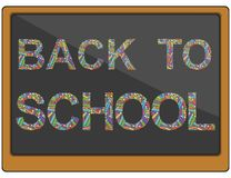 Διανυσματικό κείμενο πίσω στο σχολείο φιαγμένο από κραγιόνια χρώματος σε έναν πίνακα διανυσματική απεικόνιση