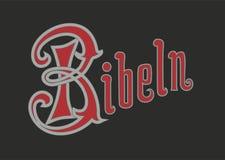 Διανυσματικό κείμενο σε σουηδικά από την παλαιά Βίβλο ύφους Η σουηδική λέξη είναι Bibel όπως στην εικόνα απεικόνιση αποθεμάτων