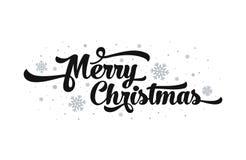 Διανυσματικό κείμενο στο άσπρο υπόβαθρο Χαρούμενα Χριστούγεννα που γράφει για την πρόσκληση και τη ευχετήρια κάρτα, τις τυπωμένες Στοκ Φωτογραφίες