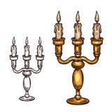 Διανυσματικό κερί εικονιδίων σκίτσων αποκριών στο κηροπήγιο απεικόνιση αποθεμάτων
