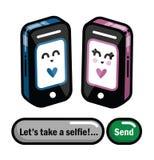 Διανυσματικό κινητό ή έξυπνο τηλέφωνο κινούμενων σχεδίων στοκ εικόνες με δικαίωμα ελεύθερης χρήσης