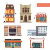 Διανυσματικό κοινό συλλογής, πόλης κτήρια Τράπεζα, ξενοδοχείο/ξενώνας, κατάστημα, κινηματογράφος, νοσοκομείο, εστιατόριο/καφές, β διανυσματική απεικόνιση