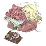 Διανυσματικό κορίτσι απεικόνισης με τα λουλούδια στο πρόγευμα πρωινού κρεβατιών απεικόνιση αποθεμάτων