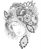 Διανυσματικό κορίτσι απεικόνισης με τα λουλούδια και zentangle σαλιγκάρι στο κεφάλι της Στοκ Εικόνες