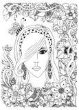 Διανυσματικό κορίτσι απεικόνισης με την ασιατική τρίχα μελισσών zentangle inher Λουλούδια πλαισίων Doodle Zenart αντιαγχωτικό Ενή στοκ εικόνες