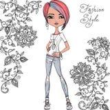 Διανυσματικό κορίτσι μόδας hipster διανυσματική απεικόνιση