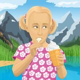 Διανυσματικό κορίτσι που τρώει το παγωτό απεικόνιση αποθεμάτων