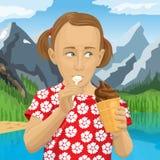 Διανυσματικό κορίτσι που τρώει το παγωτό διανυσματική απεικόνιση